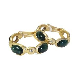 KJL By Kenneth Jay Lane Large Goldtone Hoop Faux Sapphire Cabochon Clip Earrings